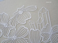 A Papercut of Dogwood and Trigger Crystal WHITE close up
