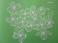 A Papercut of Dogwood & Trigger Crystal WHITE full shot