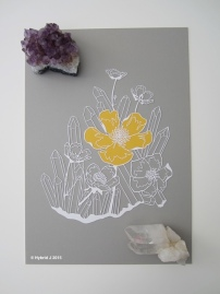 A Papercut of Buttercup and 17 Clear Quartz COLOR full shot