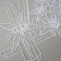 A Papercut of Edelweiss and Double Terminated Crystal Cluster WHITE close up of Edelweiss