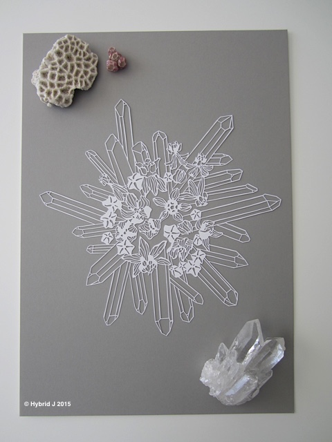 A Papercut of Milkweed and 23 Crystal Wands WHITE full shot